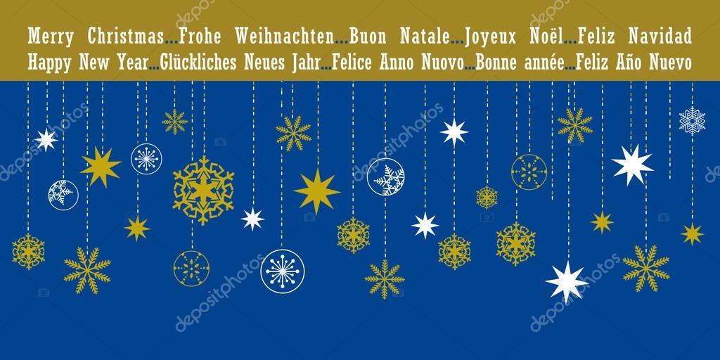 Frohe Weihnachten Und Ein Glückliches Neues Jahr In Allen Sprachen.Weihnachten Weihnachtskarte In Verschiedenen Sprachen Stockvektor