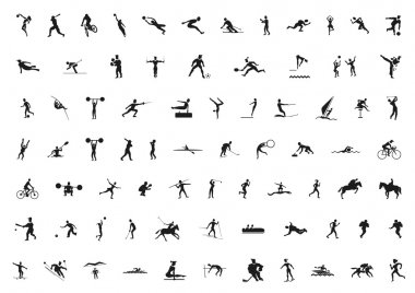 Set of black sport silhouettes stock vector