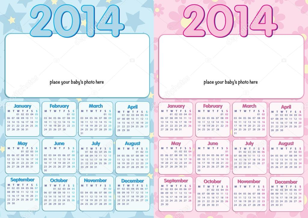baby calendar 2014 in english stock vector