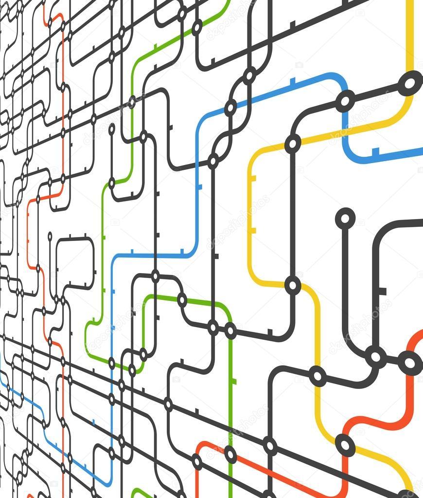 Schema Collegamento Neon : Schema della metropolitana scuro di vettore u vettoriali stock
