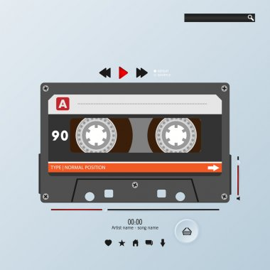 Vector cassette in envelope music player template