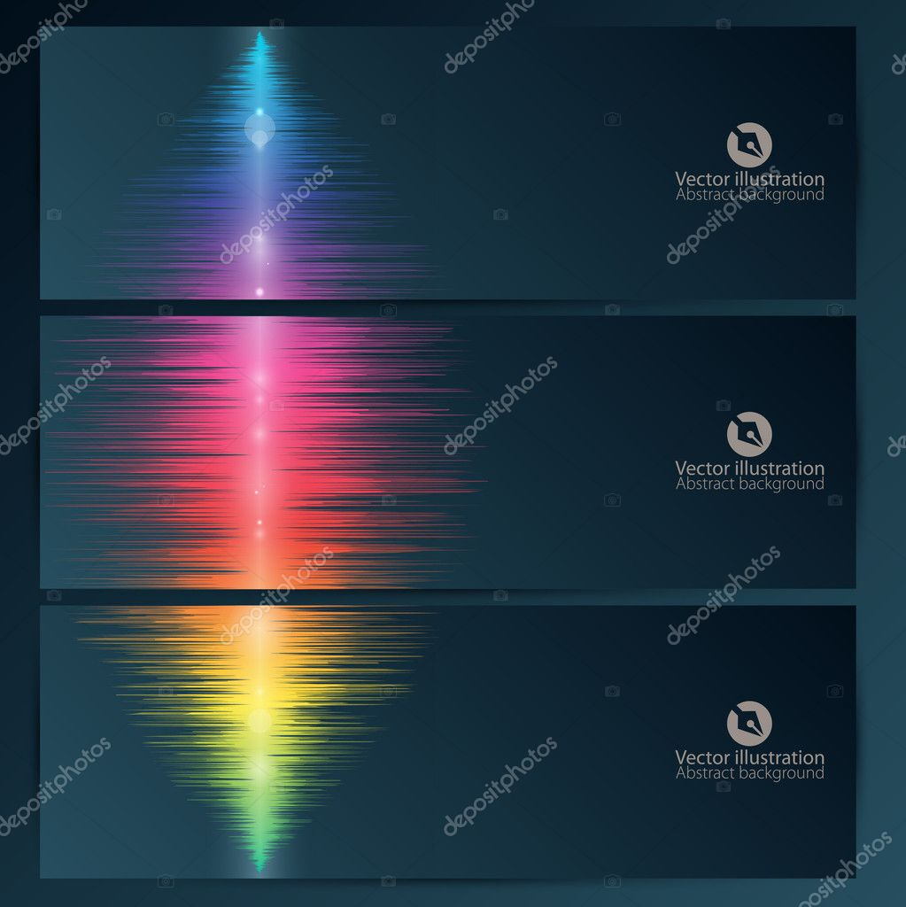 Set of abstract banners with music equalizer wave
