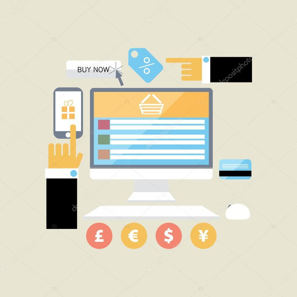 08c61a59bdc0b Плоский дизайн иллюстрации плакат концепция с иконами покупке товара через  Интернет магазин и электронная торговля идеи символ и покупки элементов. ...