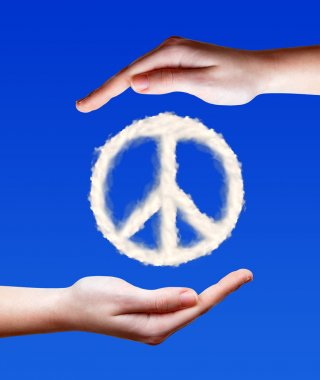 Peace symbol from clouds in hands stock vector