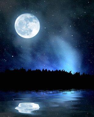 """Картина, постер, плакат, фотообои """"ночное небо со звездами и луной"""", артикул 27419831"""
