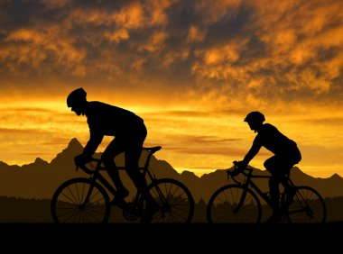 Silhouette of the cyclists