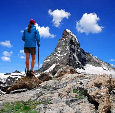 Girl looking at the Mount Matterhorn