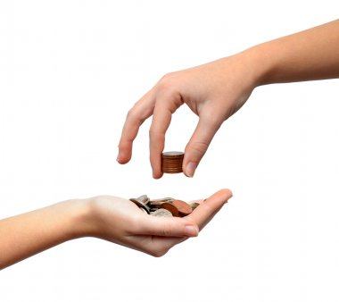 Female hands with money
