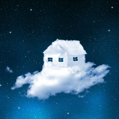 The house from clouds on night sky stock vector