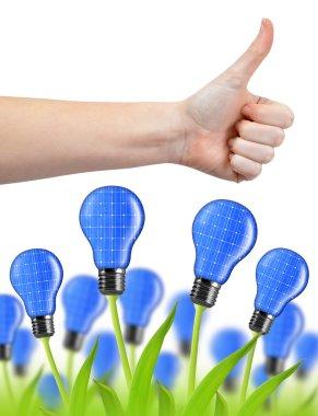 Hand with thumb up and eco energy bulbs