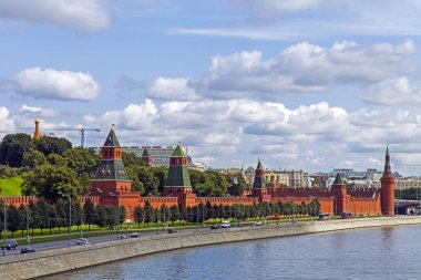 Moscow. Panorama of the Moscow river embankment and architectural ensemble of the Moscow Kremlin