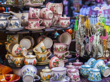 Budapest, Hungary, Fair. Showcase of craft items