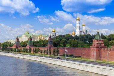 Moscow, Russia, on July 26, 2014. View of the Kremlin and Kremlevskaya Embankment of the Moskva River from Bolshoy Moskvoretsky Bridge