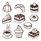 Fotografie Sammlung von Kuchen und Backwaren doodles