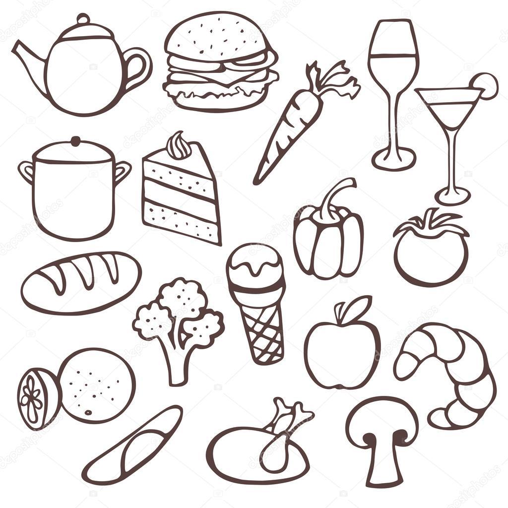 Food Doodles Stock Vector Annafrajtova 28918265
