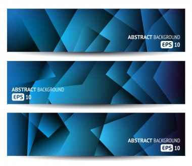 Three blue abstract banners