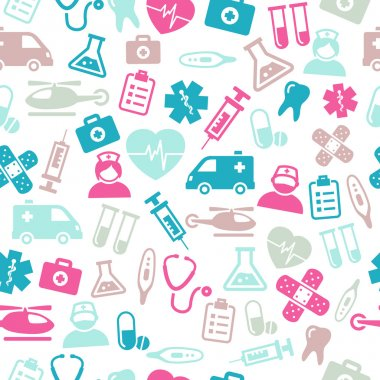 Seamless pattern composed from icons representing medical topics and healthcare. stock vector