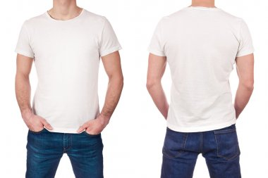 Front and back view of young man wearing blank white t-shirt isolated on white background