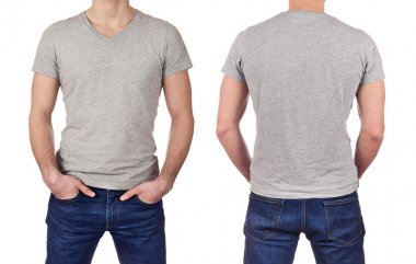 Front and back view of young man wearing blank gray t-shirt isolated on white background