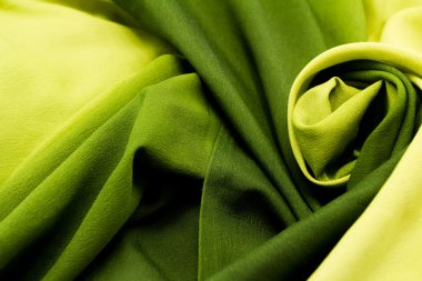 Green satin textile