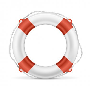 White lifebuoy with red stripes and rope. Isolated Vector illustration stock vector