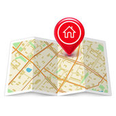 Fotografie City map with label home pin