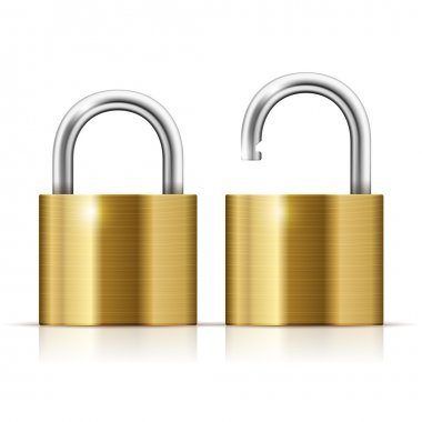 Locked and unlocked Padlock Icon isolated on white stock vector