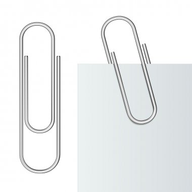 Metal paper clip and paper isolated on white background. Vector Illustration stock vector