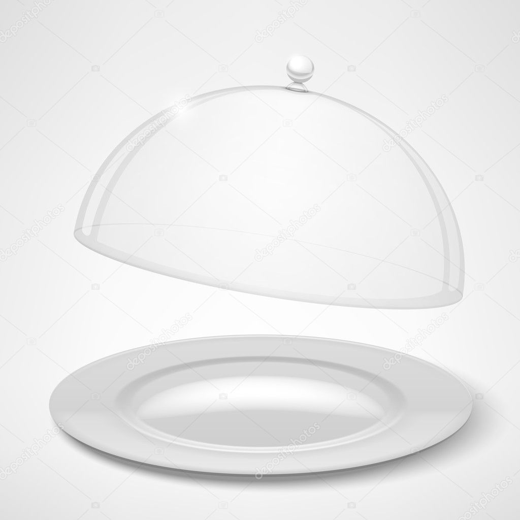 Food tray, restaurant cloche isolated on white. Vector Illustration stock vector