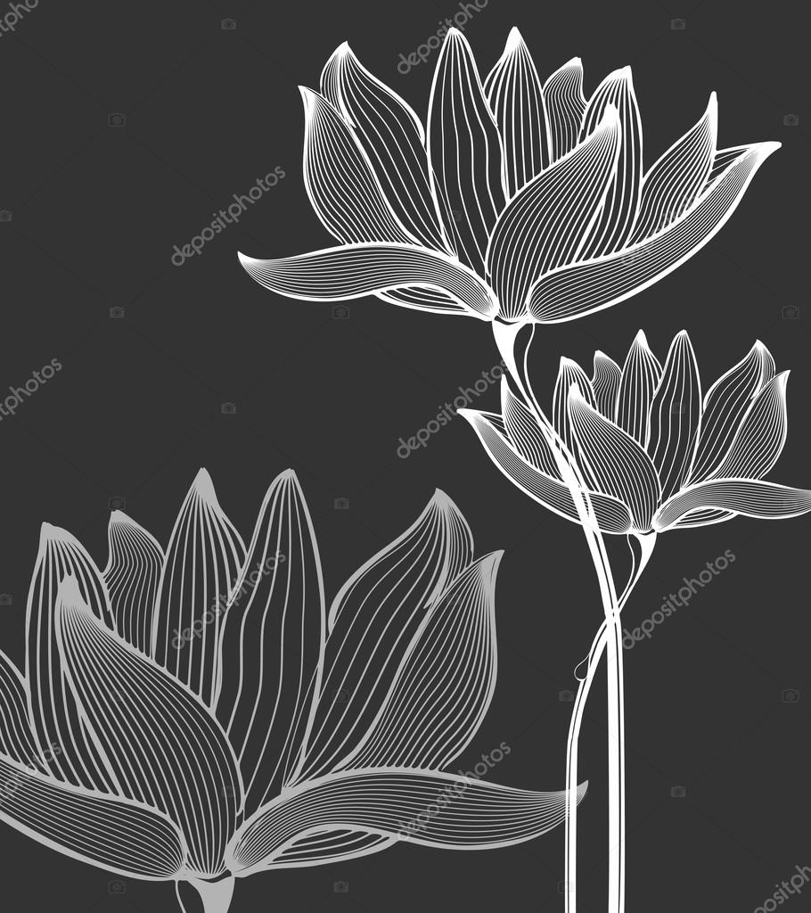 Flowers Background over black