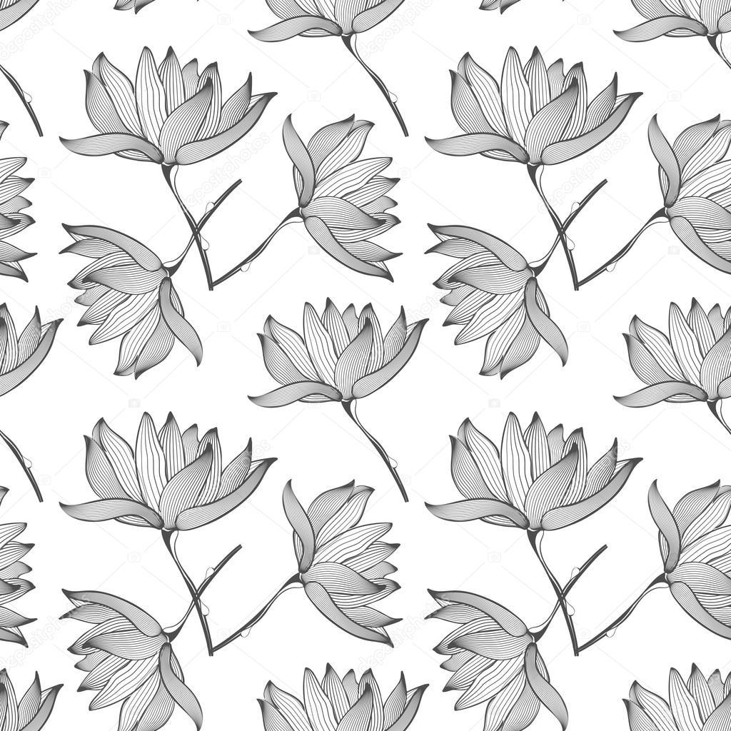 Dessin Sans Couture Fleurs De Lotus Image Vectorielle Mssa