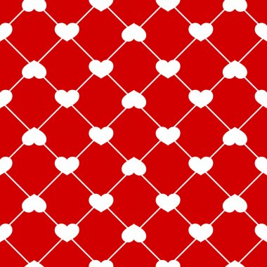Vector Seamless heart pattern on Red background stock vector