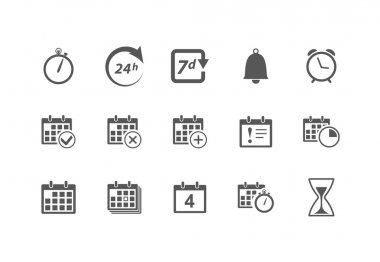 Vector Time and Calendar Icons isolated on white stock vector