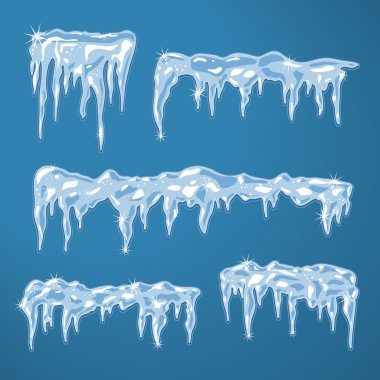 Ice sheets with icicles and snowflakes vector illustration stock vector