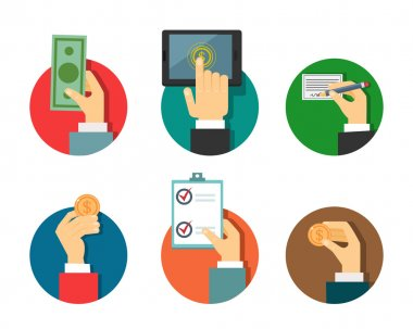 Payments illustration with hands in a flat modern style stock vector