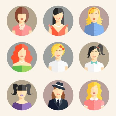 Women avatars in flat style