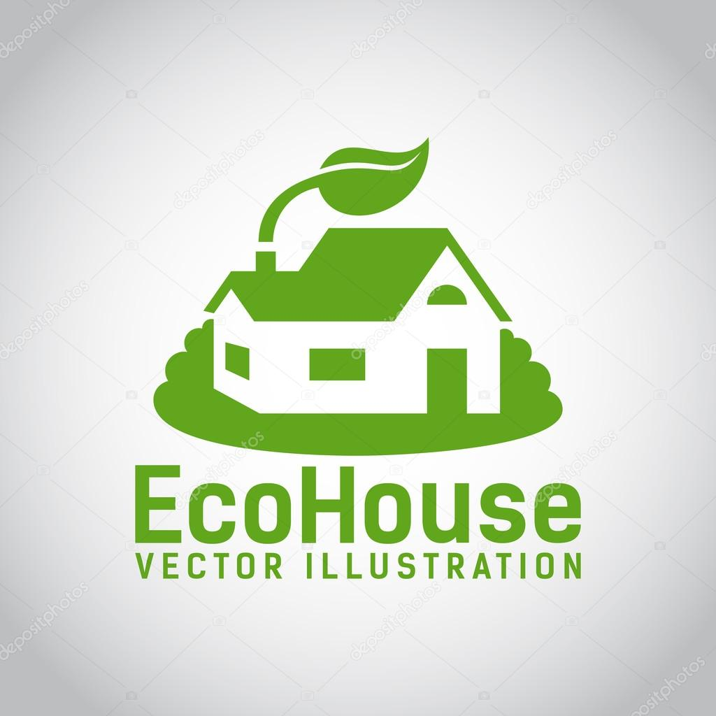 Vector green eco house icon