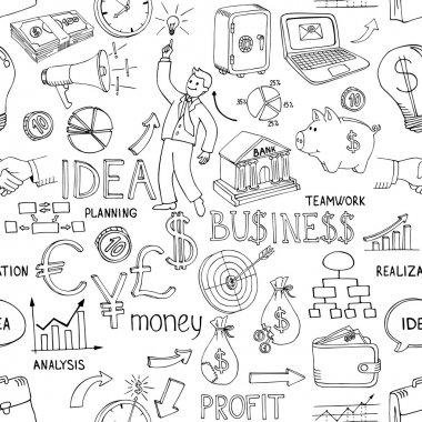 Business doodles seamless pattern