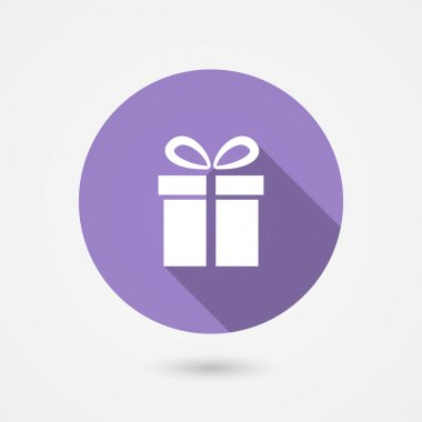 Vector illustration of a round gift icon showing a square gift box with a bow depicting a special occasion such as a birthday anniversary wedding Valentines or Christmas or the concept of shopping clip art vector