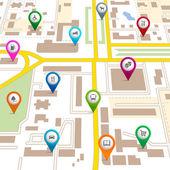 mapa města s pin ukazatele