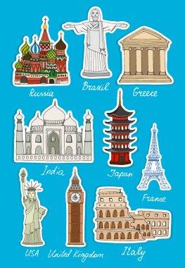 Set of vector travel landmarks icons