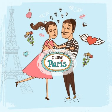 I Love Paris hand-drawn illustration