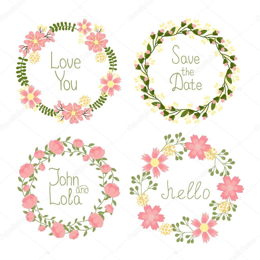 grinaldas florais molduras para convites de casamento vetores de