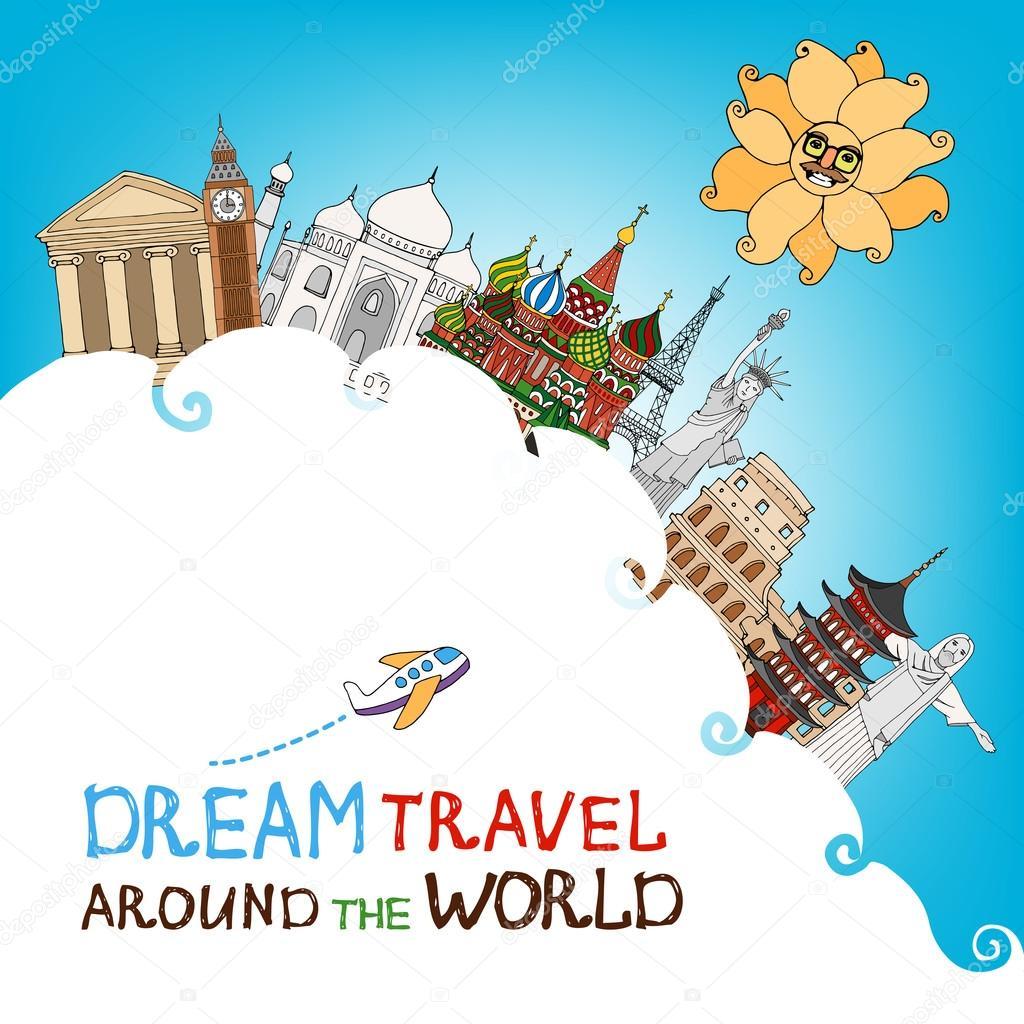 Dream travel around the world stock vector mssa 45034061 for Around the world cruise