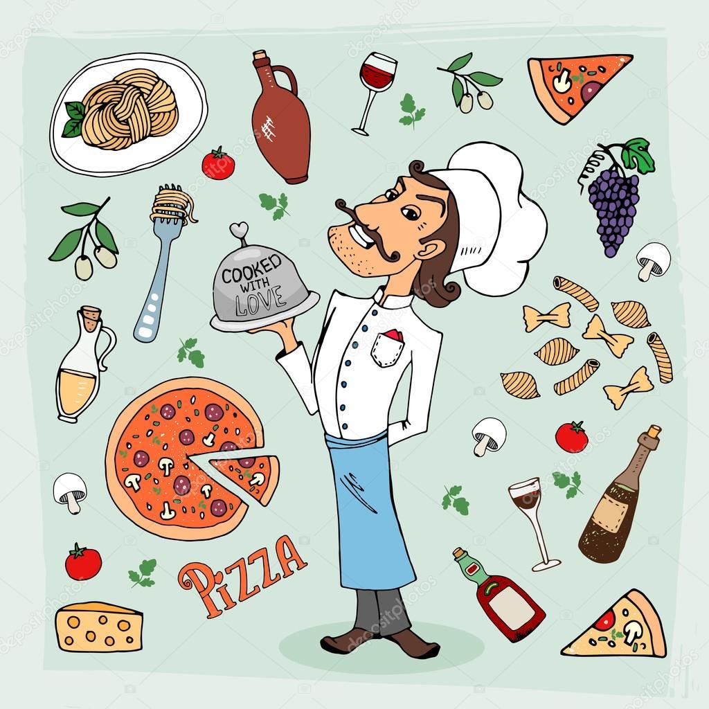 Italska Kuchyne A Jidlo Rucne Kreslene Ilustrace Stock Vektor