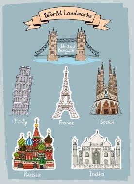 World Landmarks hand-drawn icons set