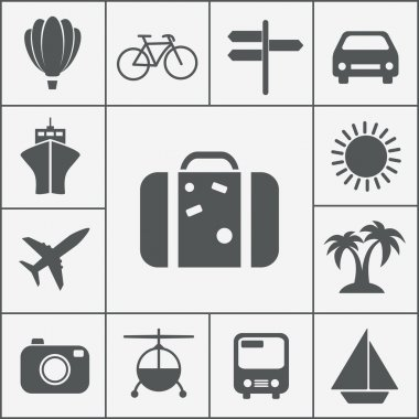Vector silhouette travel and vacation icon set with a hot air balloon cruise liner bicycle car plane bus helicopter signpost luggage palm trees camera sun and yacht stock vector