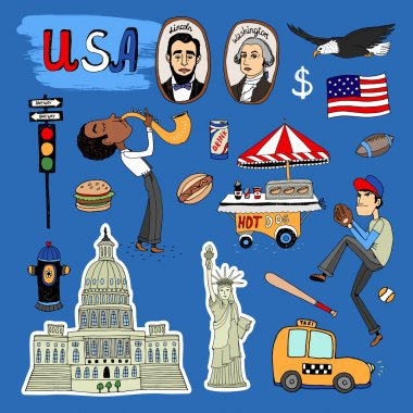 Vector hand-drawn USA Landmarks set