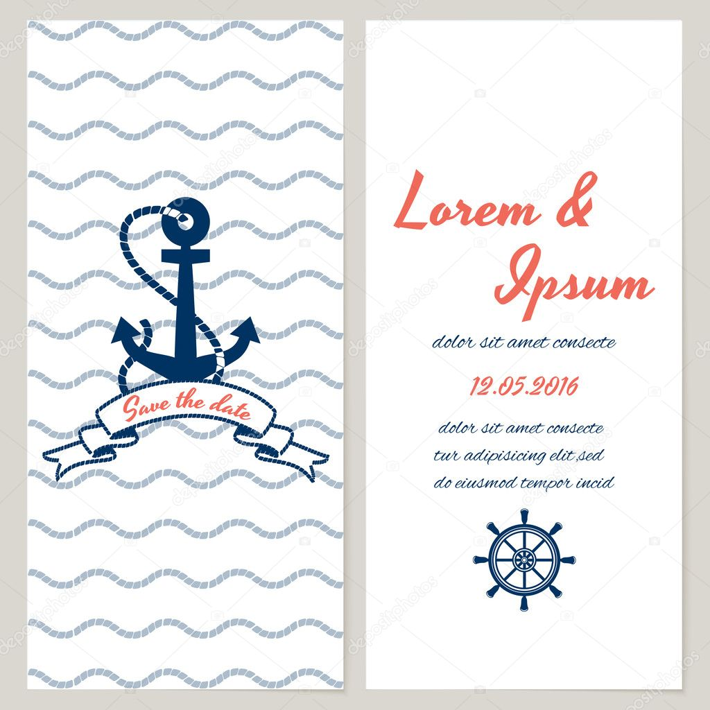 Nautical style wedding invitation — Stock Vector © MSSA #45910029