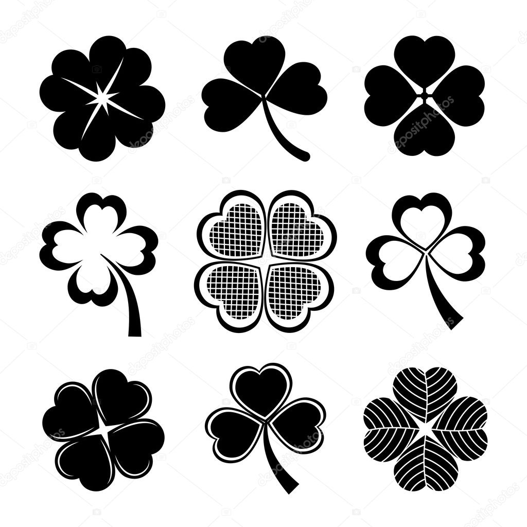 Shamrock and four leaf clover